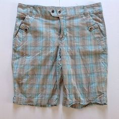 Columbia womans 10 Blue Brown Plaid stretch Bermuda hiking Outdoor Shorts
