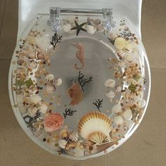 Daniels Bath Add a touch of the beautiful ocean in your lavatory with this fish toilet seat. This round toilet seat is constructed from high-quality acrylic to ensure that it is sturdy and will last…MoreMore Click visit link above to see Kitchen And Bath, Kitchen Decor, Wc Sitz, My Room, Interior Design Living Room, Home Improvement, Sweet Home, House Design, Photography Tricks