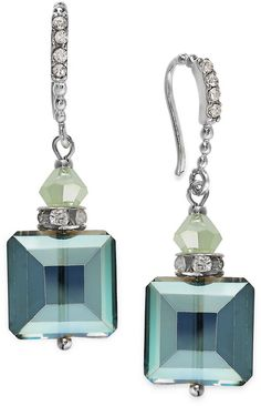 Kate Spade c.A.K.e. by Ali Khan Silver-Tone Green Square Bead Drop Earrings