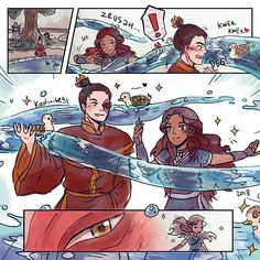 Zutara Week Day Duck Katara was approaching Zuko and doing surprise attack! She delivered the 'Super Cute Turtle Ducks Water-Sprout Dance' to the Fire Lord. Avatar Zuko, Avatar Airbender, Katara Y Zuko, Avatar The Last Airbender Funny, The Last Avatar, Team Avatar, Zutara Fanfiction, Otp, Avatar Series