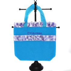 Dance Bag Light Blue Ruffle Tote Bag With by RedElmDesignsParty