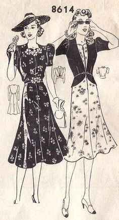 Dress and Jacket Vintage Sewing Pattern: lengthen peplum jacket Vintage Outfits, Vintage Summer Dresses, 1940s Dresses, Vintage Clothing, Vogue Dress Patterns, Vintage Dress Patterns, Clothing Patterns, 1940s Fashion, Vintage Fashion