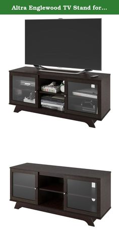 """Altra Englewood TV Stand for TVs up to 55"""", Espresso. Elevate the look of your living room or home theater with the Altra Englewood TV Stand for TVs up to 55"""". This espresso TV Stand displays your entertainment components in a simple, yet modern way with sliding glass doors. Behind the 2 glass doors are 2 shelves to keep DVDs, games, gaming systems, and other essentials safe from dust. Use the 2 open center shelves to keep your entertainment components you use the most like your Cable box..."""