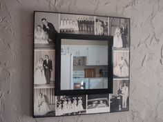 Old photos modge podged on large board, glued a mirror on top