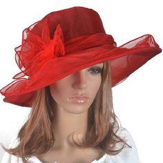 Women Kentucky Derby Church Dress Organza Hat Wide Brim Flat Hat (8 Colours) (Red) Fanny,http://www.amazon.com/dp/B00IKH729M/ref=cm_sw_r_pi_dp_wH4otb0DY0E76B17