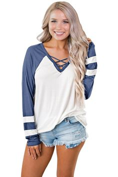 Clothing Length: Regular Collar: V-Neck Decoration: None Fabric Type: Broadcloth Gender: Women Material: Polyester Model Number: Women Tops Pattern Type: Striped Sleeve Length(cm): Full Sleeve Style: Regular Style: Casual Casual T Shirts, Casual Tops, White Long Sleeve, Long Sleeve Tops, Pull Sweat, Tees For Women, White Casual, Cotton Jacket, Lady