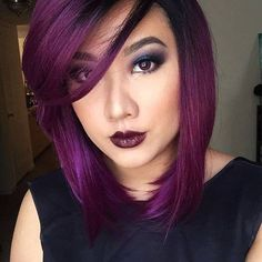 This color. more hair hair cuts, hair makeup, hair styles Hair Color Purple, Hair Color And Cut, Cool Hair Color, Hair Colors, Plum Color, Deep Purple Hair, Magenta Hair, Dark Purple, Color Pop