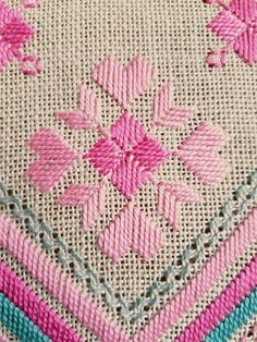 Beautiful retro turquoise/offwhite/pink embroidered tablecloth in mint condition. The size is: x The material is linen, cottonthread. Offer combined shipping Contact me if you have questions Thank you for visit my vintage shop :) Hardanger Embroidery, Embroidery Stitches, Embroidery Patterns, Hand Embroidery, Cross Stitch Designs, Cross Stitch Patterns, Bordados Tambour, Cross Stitch Material, Types Of Embroidery