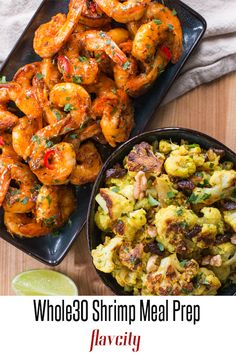 This meal prep has sour orange glazed shrimp served with oven roasted cauliflower tossed with a coconut curry sauce, crunchy walnuts, and sweet raisins. The entire meal is compliant and full of flavor. diet clean eating done right! Oven Roasted Cauliflower, Cauliflower Curry, Whole 30 Meal Plan, Whole 30 Diet, Coconut Curry Sauce, How To Cook Shrimp, Curry Recipes, Whole 30 Recipes, Meal Planning