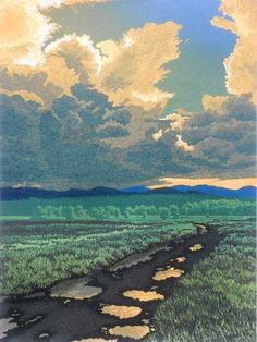 After The Storm by William Hays. Twelve-color linoleum block print. Printed with oil based, fine art printmaking inks on Stonehenge, 100 percent rag paper. Titled, numbered, and signed in pencil below the image area. Limited edition of 100. The sky reflecting in puddles of water was the starting point for this print. The subject has been addressed many times by artists, so Hays wanted to lessen that aspect and concentrate on the sky and clouds.