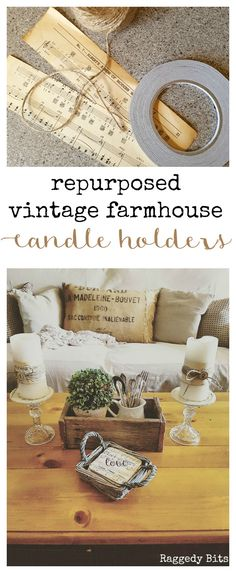 See how to make a cute set of Repurposed Vintage Farmhouse Candle Holders from thrifted finds that cost all of $2.50 | Full tutorial | www.raggedy-bits.com