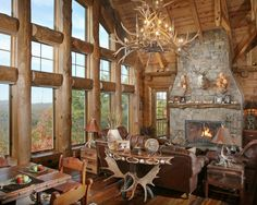 Wild Turkey Lodge - traditional - living room - atlanta - Modern Rustic Homes Modern Rustic Homes, Rustic Home Design, Log Home Living, Living Room, Log Home Designs, Rustic French Country, Log Home Decorating, Interior Decorating, Style Rustique