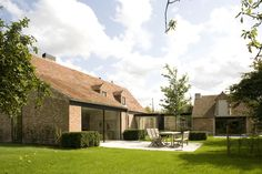ARCHITECTSLAB - Brussels - Architects Beautiful Buildings, Beautiful Homes, Sauna House, House Extension Design, Dutch House, Belgian Style, Weekend House, Up House, Stone Houses