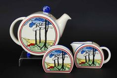 Wedgwood 'Clarice Cliff Bizarre' three piece tea set, the… - Cliff, Clarice - Ceramics - Carter's Price Guide to Antiques and Collectables
