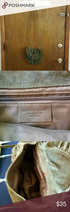 Italian leather suede purse by Maurizio Taiuti Light brown small suede crossbody purse with very long strap. Like new condition, never used 100% real leather suede, leather is very soft and in excellent condition, made in Italy Bags Crossbody Bags
