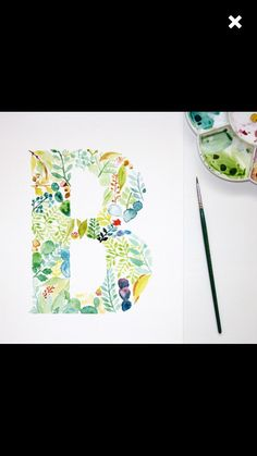 Watercolour Letter B Wall Art Print, Personalised Nursery Print, Letter Art…
