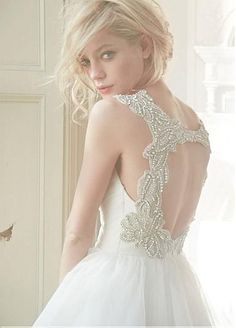 Gorgeous Tulle & Satin A-line V-neck Raised Waistline Beaded Wedding Dress  http://www.dressilyme.com/product/productDetail.do?pid=23084