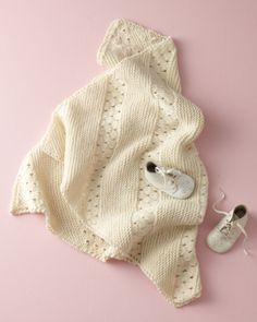 Image of Diagonal Eyelet Baby Blanket