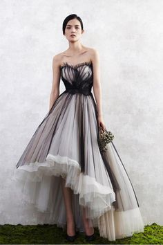 Simple white and black tulle high low prom dress, strapless homecoming dress