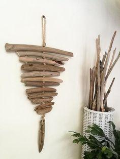 """Home Decor Driftwood Wall Art, Driftwood Wall Hanging, Lovely Driftwood Beach Decor, Hangable Driftwood Art 23.5"""""""