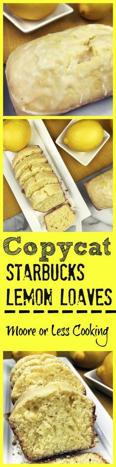 *COPIED COPIED The Best Copycat Starbucks Lemon Loaves! I think this is even better than the Starbucks lemon loaf! So moist and full of lemon flavor and a simple glaze on top makes this absolutely delicious! Lemon Desserts, Lemon Recipes, Copycat Recipes, Delicious Desserts, Yummy Food, Lemon Cakes, Easy Recipes, Amazing Recipes, Yummy Snacks