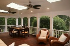 Love the white and the dark floors, the skylights, and that it is screened in. I would LOVE this porch..
