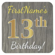 Faux Wood Faux Gold 13th Birthday  Custom Name Square Paper Coaster - elegant gifts gift ideas custom presents
