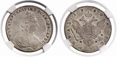 Rouble. Russian Coins, Catherine II. 1762-1796. 1780 SPB-IZ. Bit 228. About uncirculated. Price realized 2011: 1.000 USD.