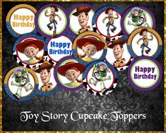 Toy Story Cupcake Toppers Toy Story Cupcakes, Cupcake Toppers, Cool Toys, Etsy Store, Your Design, Card Stock, Vibrant Colors, Banner, Happy Birthday