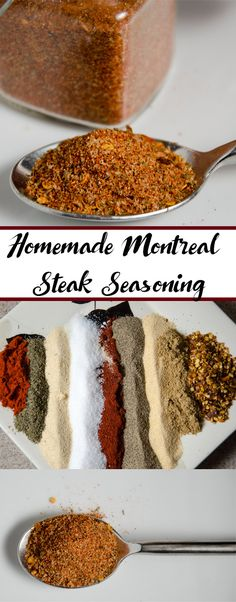 Homemade Montreal Steak Seasoning (aka: Montreal Steak Spice): easy to make, better than store-bought. Use on steak, pork, chicken, and more. Montreal Steak Seasoning - a. Montreal Steak Spice: not just for steak! Pork Seasoning, Seasoning Mixes, Montreal Steak Seasoning Recipe, Montreal Spice Recipe, Seafood Seasoning, Homemade Spices, Homemade Seasonings, Steak Rubs, Steak Marinades