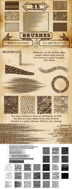 Vintage Print Texture Brushes PS/AI. Photoshop Brushes. $10.00