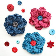 Two layer flower with overlapping petals. Can be worked in any yarn with appropriate hook.