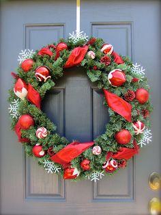 Red Christmas Wreath Large Christmas Wreath by WreathsByRebeccaB, $65.00