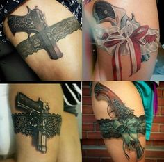 Tattoo thigh garter pistols 43 new Ideas Mommy Tattoos, Baby Tattoos, Girly Tattoos, Dope Tattoos, Badass Tattoos, Epic Tattoo, Tattoo Man, Lace Thigh Tattoos, Leg Tattoos