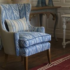 Vignatella Fabric from Designers Guild Alberesque Collection. A printed upholstery fabric with an inverted Aztec style chevron stripe in denim blue. White Rooms, Home Staging, Living Room Chairs, Soft Furnishings, Home Furniture, Living Spaces, Interior Design, Blue Chairs, Ikea Chairs