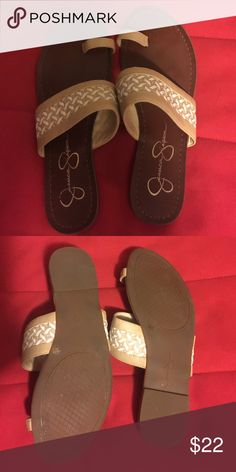 Jessica Simpson sandals Basket weave detail size 7 1/2 tan and white sandals. Worn once. Cute as can be. Jessica Simpson Shoes Sandals