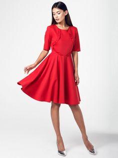 Dámske šaty s 3 4 rukávmi RITA KOSS - červená 1922ecf0c7
