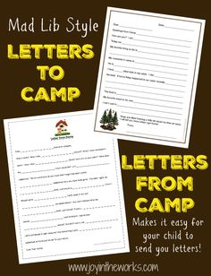 FillInTheBlanks Camp Letters Printable Activity For Kids