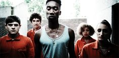 """In order: Simon, Nathan, Curtis, Alisha and Kelly from """"Misfits"""""""