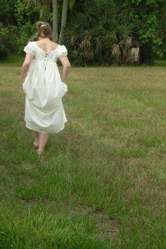 White Muslin Regency Dress Simplicity 4055