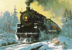 Christmas Card - We're sending you good cheer. by David Tutwiler Locomotive Diesel, Steam Locomotive, Train Posters, Railway Posters, Zug Illustration, Classroom Art Projects, Old Trains, Vintage Trains, Steam Railway