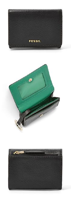 #Fossil SYDNEY Gusseted Key Case in black with a POP green interior. #colorcurious