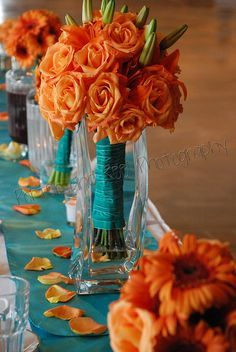 Orange and Turquoise Wedding Decorations - Bing images Wedding Reception Table Decorations, Fall Wedding Centerpieces, Wedding Table, Wedding Bouquets, Wedding Flowers, Wedding Day, Decor Wedding, Trendy Wedding, Bridesmaid Bouquets