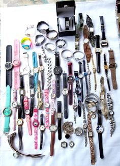 LOT 58 Wrist Watches 4.5 lbs Timex Justice Gossip Nascar Parts Repair #ManyBrands