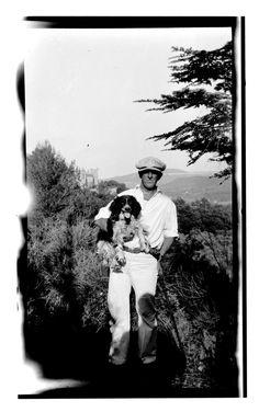 Marsden Hartley (american 1877 - 1945) and his dog in Aix, 1926.