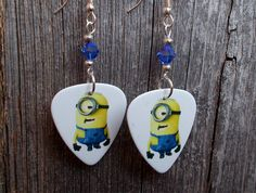 Minions Guitar Pick Earrings with Blue Crystals by ItsYourPickToo on Etsy