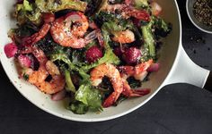Hearty escarole maintains its volume when cooked, which makes it a great choice for a quick sauté with shrimp.