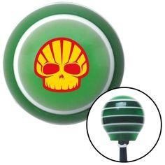 Shell Skull Green Stripe Shift Knob with M16 x 15 Insert