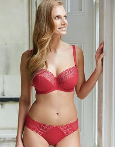 Genevieve Bra We love bringing you brand new styles in hot new colours and what could bring a zing better than this strawberry red balconette.