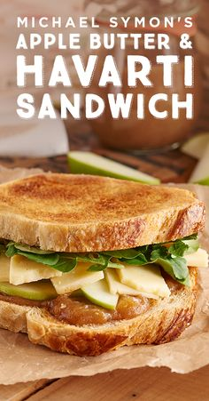 Packing up a picnic? Don't forget to include Michael Symon's delicious Aged Havarti and apple butter sandwich! The sweet and salty flavors on crusty bread will take your picnic from casual to gourmet. Find the picnic-perfect recipe here. Gourmet Sandwiches, Wrap Sandwiches, Sandwich Recipes, Lunch Recipes, Cooking Recipes, Healthy Recipes, Wrap Recipes, Apple Recipes, Cheese Recipes